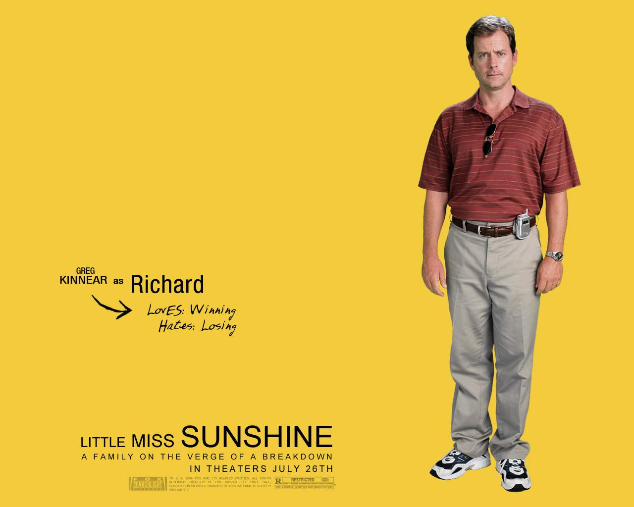 lil miss sunshine Father richard (greg kinnear) is desperately trying to sell his motivational success program with no success meanwhile, pro-honesty mom sheryl (toni collette) lends support to her eccentric family, including her depressed brother (steve carell), fresh out of the hospital after being jilted by his lover.